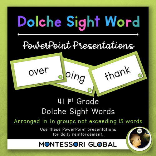 First Grade Dolche Sight Word Spelling Lists, Posters & PowerPoint Flash Cards