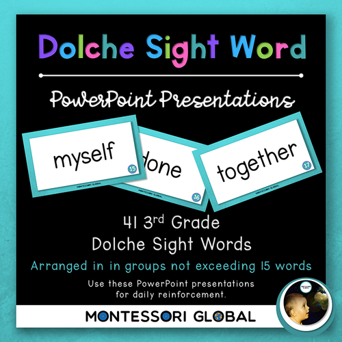 Third Grade Dolche Sight Word Spelling Lists, Posters & PowerPoint Flash Cards