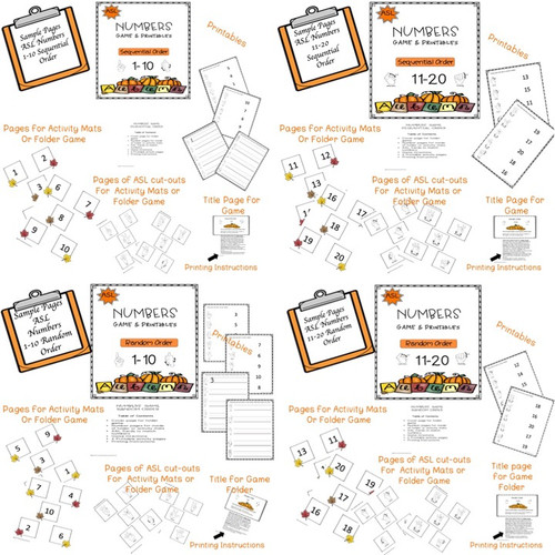 ASL Fall Numbers Games & Printables Bundle