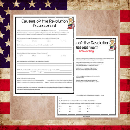 Causes of the American Revolution Assessment