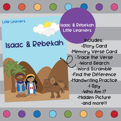 Isaac and Rebekah Activity Pack- Little Learners Bible Lesson & Activity Packet