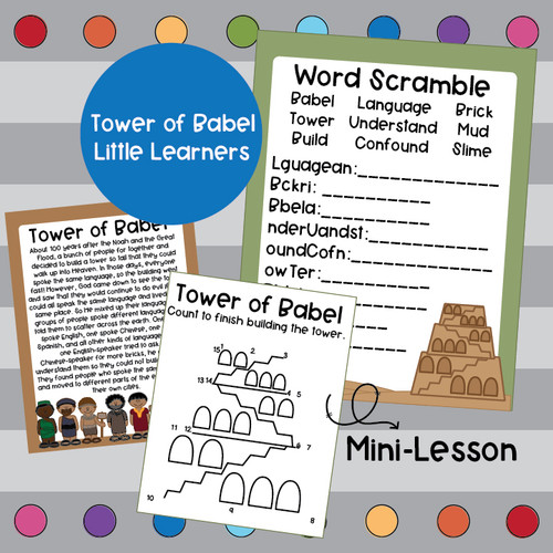 Tower of Babel Activity Pack- Little Learners Bible Lesson & Activity Packet