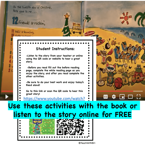 Digital Version:  Read-A-Loud Tasks: Pete the Cat 12 Groovy Days of Christmas