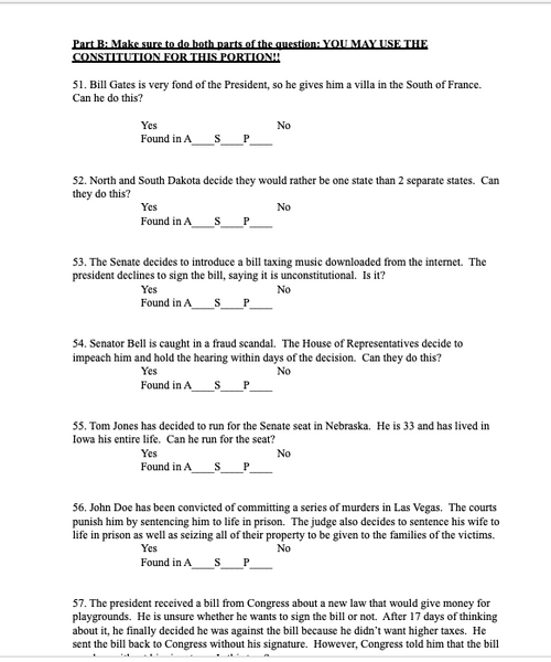 U.S. Constitution Test