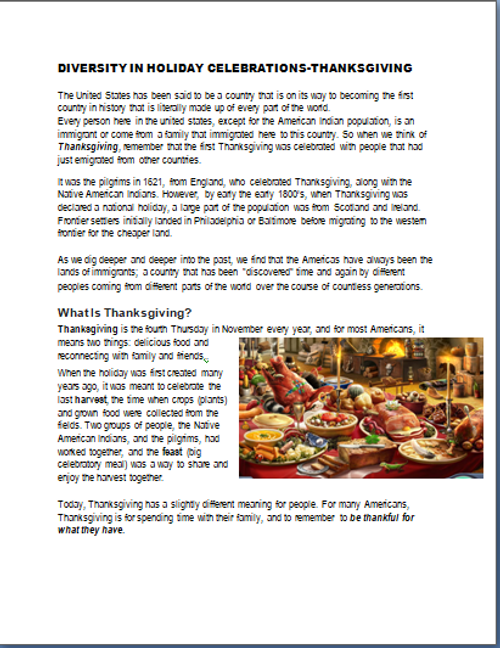 Thanksgiving- It's Not Just About Turkey Anymore- Diversity in Holiday Celebrations