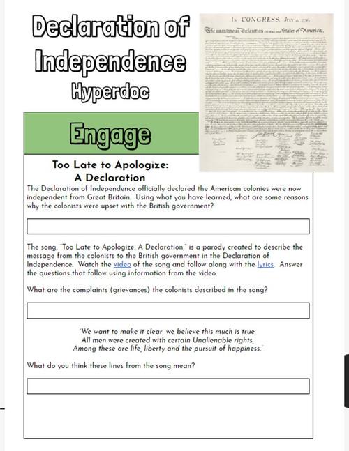 Hyperdoc: Declaration of Independence Webquest