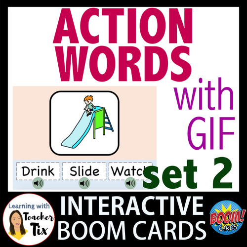 Identifying Action Words with Animated GIF Boom Cards set 2