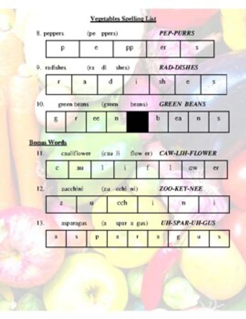 Vegetables Spelling List (Grade 2-4)