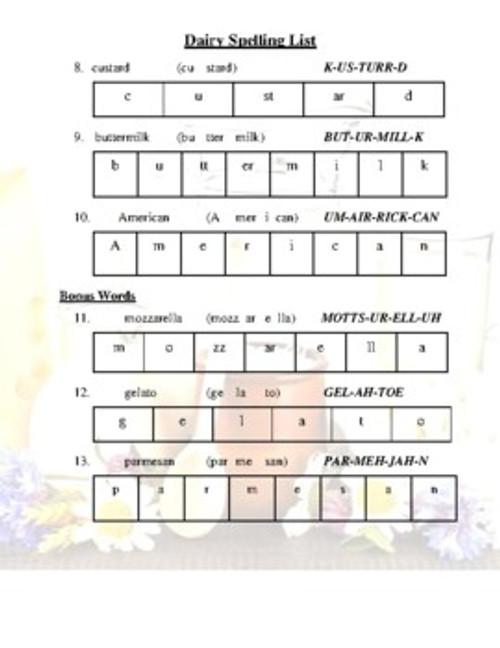 Dairy Spelling List (Grades 2-4)