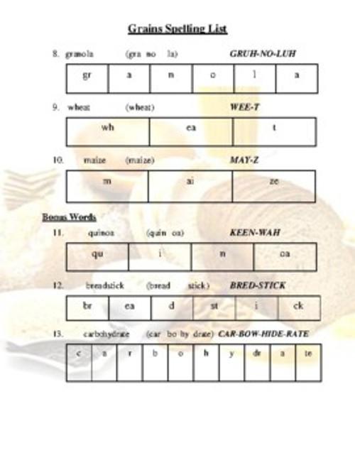 Grains Spelling List (Grades 2-4)