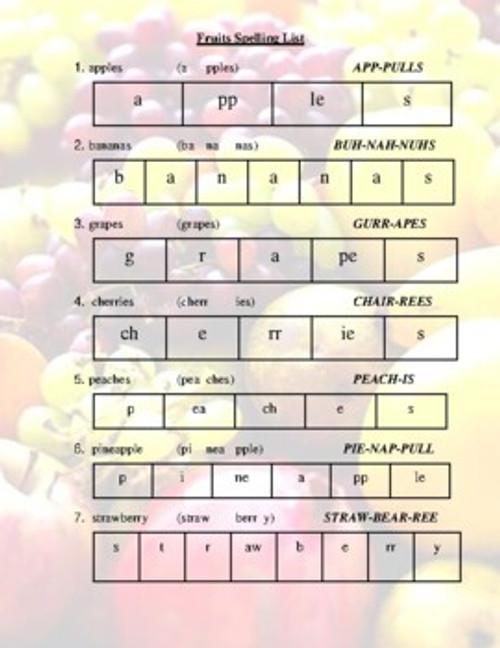 Food Pyramid Spelling List (Grades 2-4)