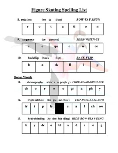 Figure Skating Spelling List