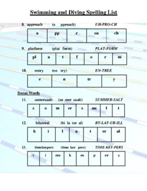 Swimming and Diving Spelling List