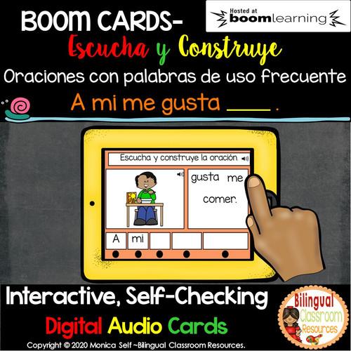 BOOM Cards Escucha y construye oraciones: A mi me gusta____.