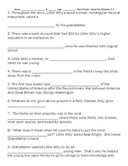 Stone Fox Word Study Spelling Test