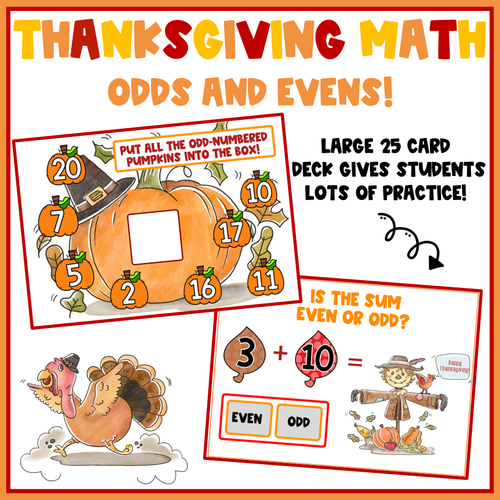 Thanksgiving Math Odds and Evens