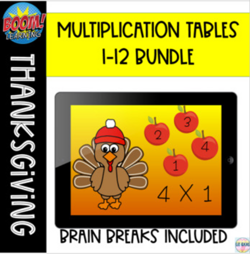 Fall Multiplication Tables 1-12 Boom Cards