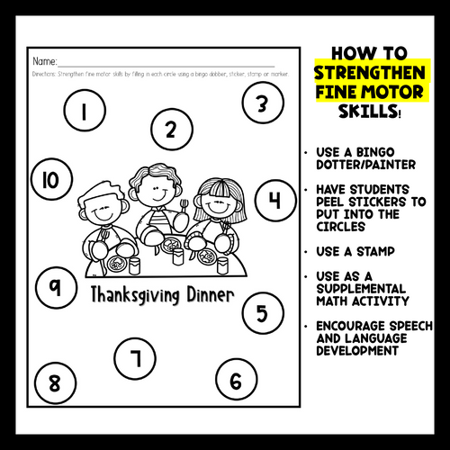 Thanksgiving Tracing and Fine Motor