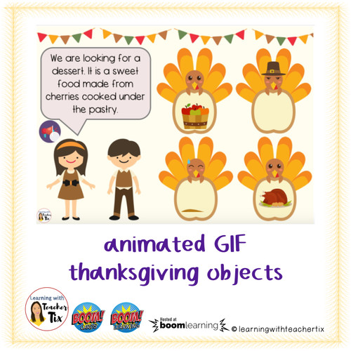 Making Inferences Thanksgiving with animated GIF and Audio Boom Cards