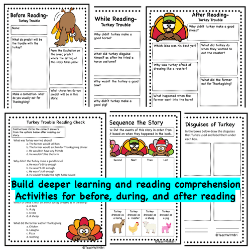 Read-A-Loud Activities- Turkey Trouble - Thanksgiving Favorite Stories