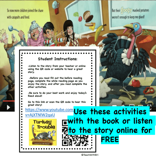Digital Version:  Read-A-Loud Activities- How to Catch a Turkey - Thanksgiving Favorite Stories
