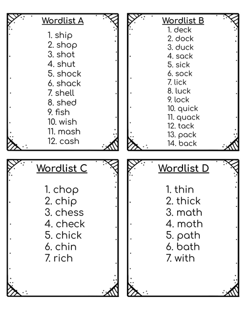 Phonemic Awareness Picture Cards for Short Vowel Words with Digraphs
