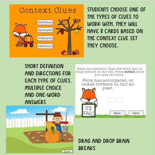 Context Clues: Fall Fox Task Cards AND Boom Cards