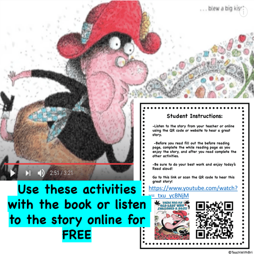Digital Version: Valentine Read-A-Loud Activities- There Was A Old Lady Who Swallowed A Rose