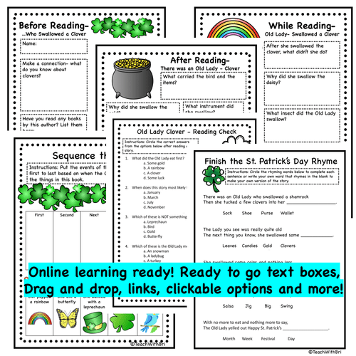 Digital Version: St. Patrick's Day Read-A-Loud Activities- There Was A Old Lady Who Swallowed A Clover