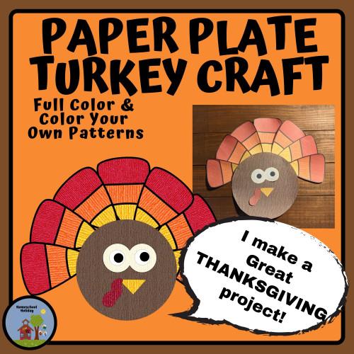Turkey Paper Plate , Thanksgiving Craft