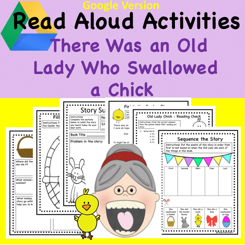 Digital Version: Easter and Spring Read-A-Loud Activities- There Was A Old Lady Who Swallowed A Chick