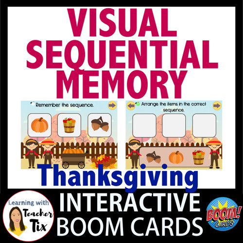Visual Sequential Memory Thanksgiving Interactive Boom Cards