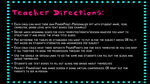 Glows and Grows Conference Reflection Powerpoint Digital and Printable