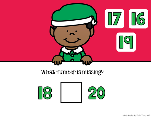 Missing Number 1-20, Christmas Theme, Remote Distance Learning, Google Slides