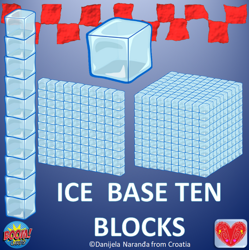 Ice Base Ten Blocks Place Value ClipArt Boom Cards