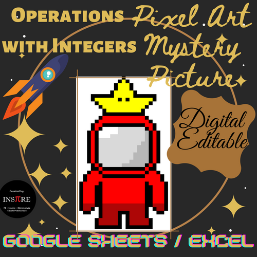 DIGITAL Spaceman, Owl, Kitty, Turkey - Math Pixel Art Mystery Picture EDITABLE