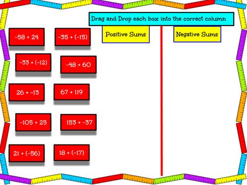 FREEBIE - Integers Drag and Drop Activity