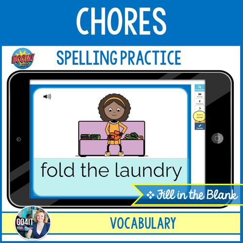 Boom Cards™ – Chores Vocabulary - Spelling Practice | Audio