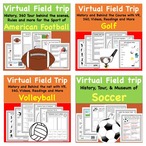 Mega Discount Bundle-  Sports Favorites Virtual Field Trip Pack - 12 Trips