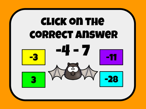 Halloween Integer Slide Game