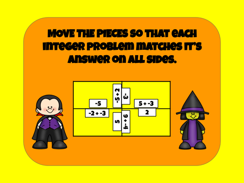 Halloween Matching Puzzles - Adding Integers