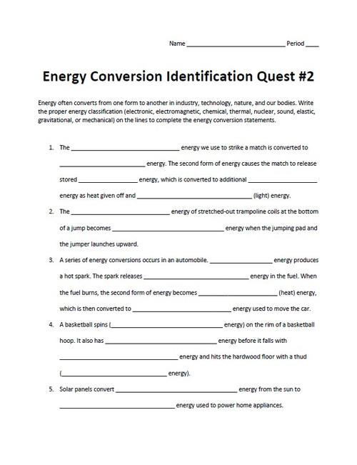 Energy Conversion Identification Quest Set #2