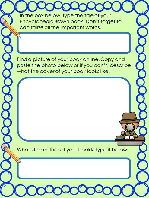Encyclopedia Brown Series Digital Novel Study in Google Slides