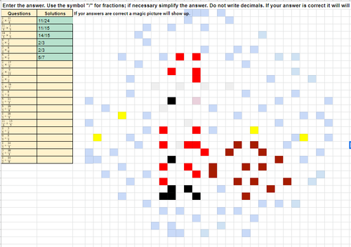 Multiplying and Dividing Fractions Christmas Pixel Art Activity Google Sheets