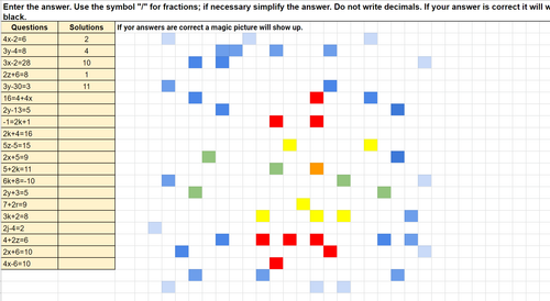 Solving Two Step Equations Christmas Pixel Art Activity Google Sheets