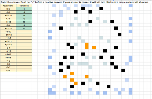 Adding and Subtracting Integers Pixel Art Activity Google Sheets