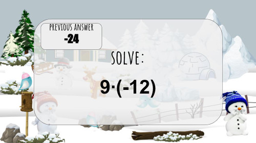 Integer Operations - DIGITAL Winter Scavenger Hunt/ Escape Room in Google Slides, PowerPoint EDITABLE