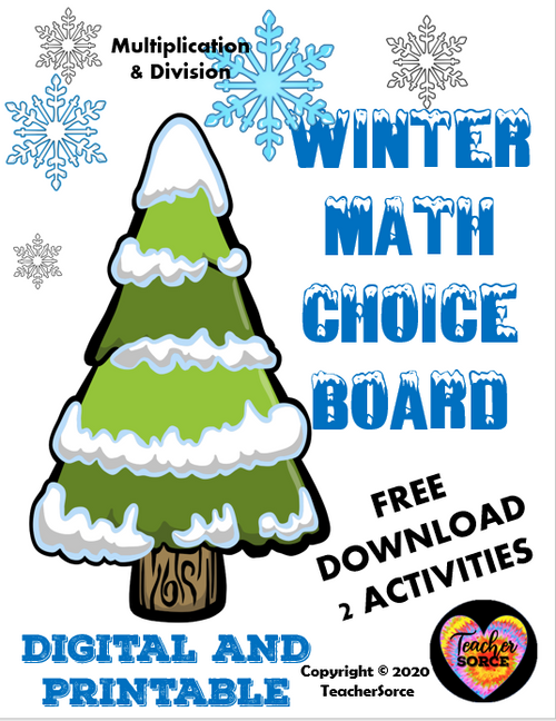 Winter Math Choice Board Freebie Multiplication and Division