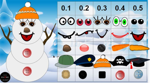 Make a snowman Fractions & Decimals DIGITAL ACTIVITY Winter Christmas EDITABLE