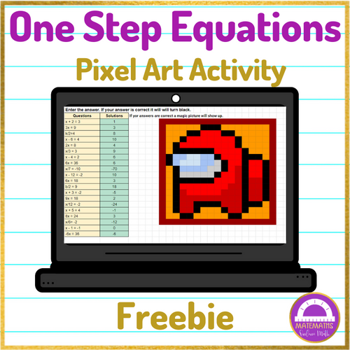 Solving One Step Equations Pixel Art Activity FREEBIE